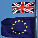 The Union flag and EU flag