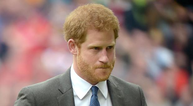 Prince Harry at the Babcock Trophy match at Twickenham Stadium, London (Lauren Hurley/PA)