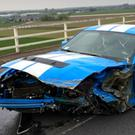 A blue and white Ford Mustang Shelby, which was involved in a collision which closed the eastbound M62 in East Yorkshire (Humber Roads Police/PA)
