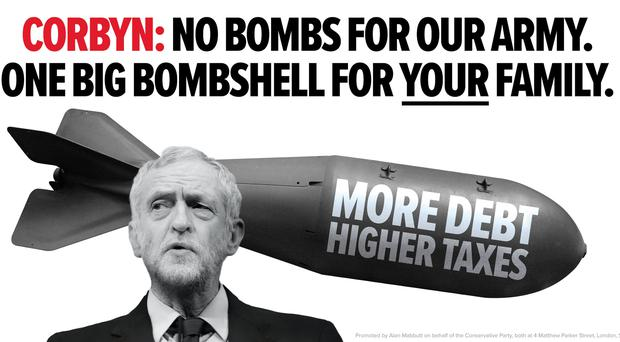 Labour leader Jeremy Corbyn on a new Tory election campaign poster (Conservative Party/PA)