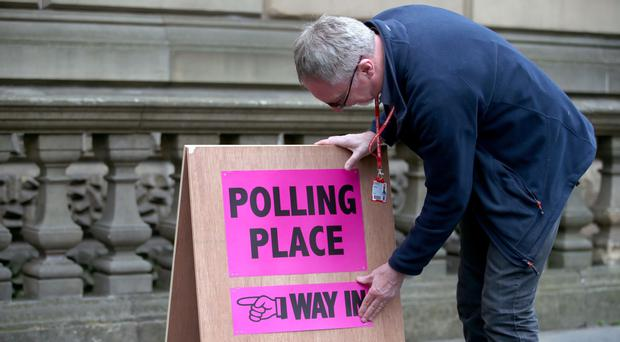 A polling station sign (Jane Barlow/PA)