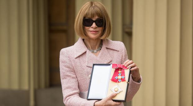 Editor-in-Chief, American Vogue and Artistic Director Dame Anna Wintour after receiving her Dame Commander from Queen Elizabeth II at an Investiture ceremony at Buckingham Palace, London (Dominic Lipinski/PA)