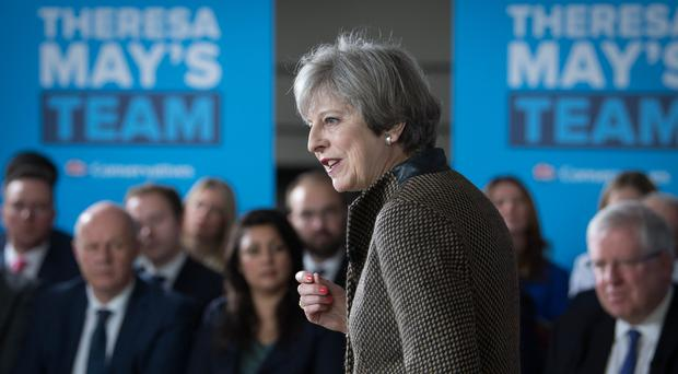Prime Minister Theresa May addresses Conservative parliamentary candidates for London and the south east (Stefan Rousseau/PA)