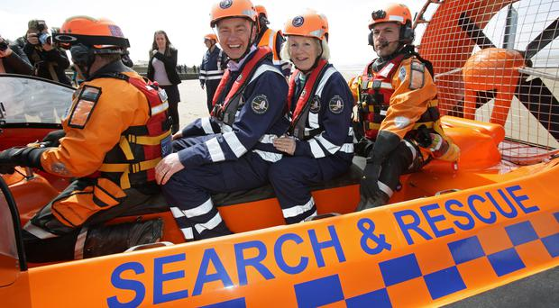 Liberal Democrat leader Tim Farron and the party's local candidate Tessa Munt on board a hovercraft during a visit to the Burnham Area Rescue Boat (Yui Mok/PA)