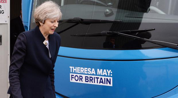 Conservative leader Theresa May at the launch of the party's campaign bus at Eshott airfield, Northumberland (Stefan Rousseau/PA)