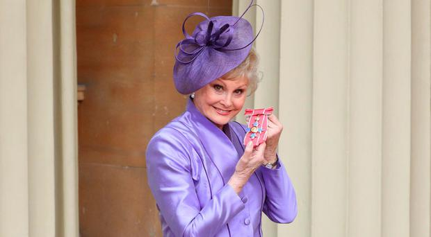 Angela Rippon, who was awarded a CBE by the Duke of Cambridge at Buckingham Palace yesterday