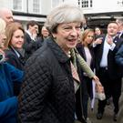 Tory leader Theresa May on the campaign trail in Oxford