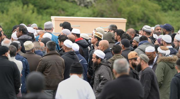 The coffin of Evha Jannath is carried towards her grave at Saffron Hill Cemetery in Leicester, the 11-year-old schoolgirl died after falling from a theme park water ride (Ben Birchall/PA)