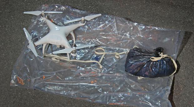 A drone used to fly drugs and mobile phones into a Hertfordshire prison (Metropolitan Police/PA)