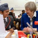 Conservative party leader Theresa May at Nishkam Primary School in Birmingham (Stefan Rousseau/PA)