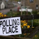 A polling station sign (Andrew Milligan/PA)