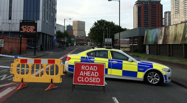 A police roadblock near the Manchester Arena (Peter Byrne/PA)