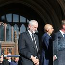 Home Secretary Amber Rudd, Labour leader Jeremy Corbyn and Liberal Democrat leader Tim Farron during a vigil in Albert Square, Manchester (Martin Rickett/PA)