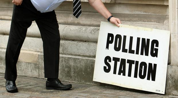 A sign outside a polling station (Dominic Lipinski/PA)