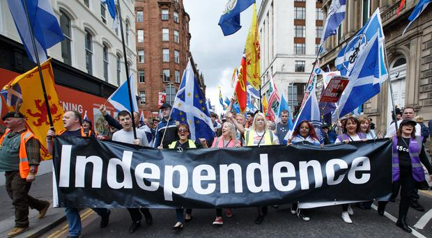 People taking part in a March for Independence in Glasgow. (Robert Perry/PA)
