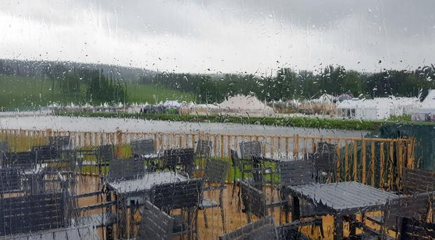 A rainy day greeted visitors to Chatsworth (Emily Beament/PA)