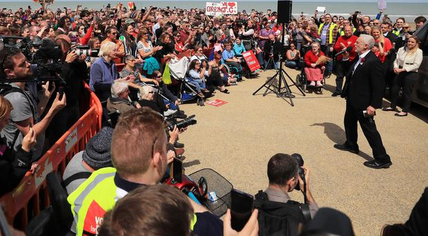 The Labour leader had a 44% share of voice on the platform ( Peter Byrne/PA)