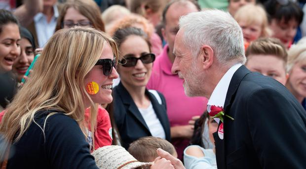 Labour leader Jeremy Corbyn during a rally in Watford