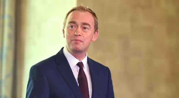 Tim Farron was speaking at the National Liberal Club in Westminster (PA)