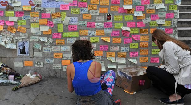 Messages of support left at London Bridge (Nick Ansell/PA)