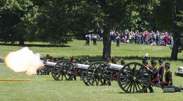 The King's Troop Royal Horse Artillery firing a 41 round Royal Salute. (Rick Findler/PA)