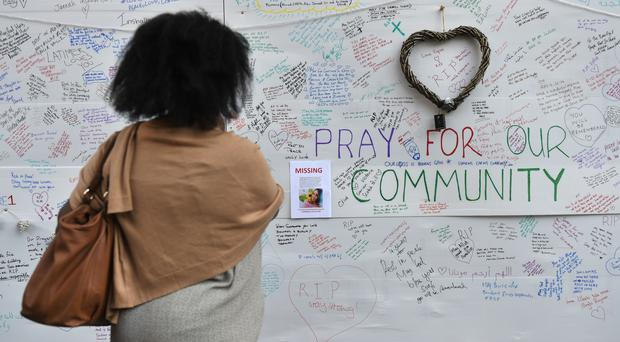 Tributes to the Grenfell Tower victims. (David Mirzoeff/PA)