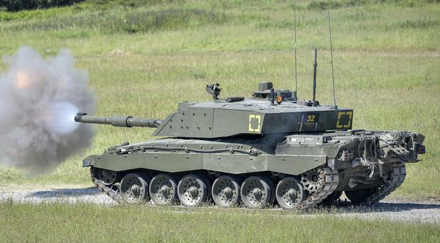 A Challenger 2 tank on Castlemartin Ranges in Pembrokeshire. (MoD/PA)