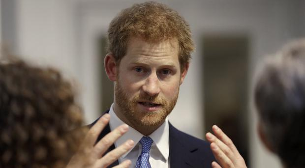 Harry speaks during his visit to Chatham House (Matt Dunham/AP/PA)