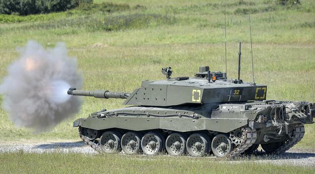 A Challenger 2 tank on Castlemartin Ranges in Pembrokeshire, Wales (PA)
