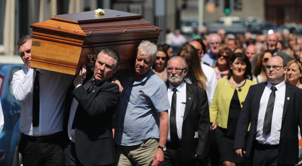 The funeral of Seamus Ruddy takes place in Newry, Co Armagh (Niall Carson/PA)