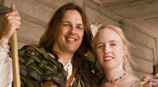 Nottingham's official Robin Hood Tim Pollard and Sally Chappell as Maid Marian (PA)