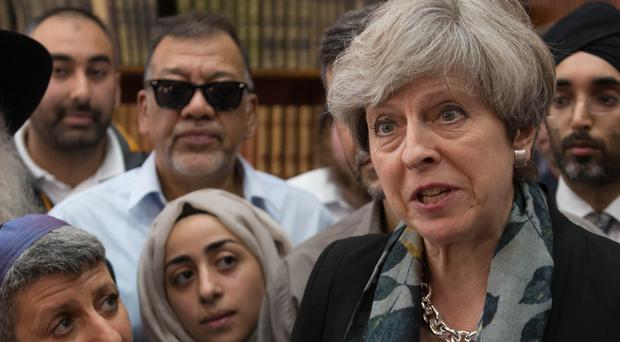 Prime Minister Theresa May at Finsbury Park Mosque (Stefan Rousseau/PA)