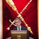 Mark Carney delivering his delayed Mansion House speech (Stefan Rousseau/PA)