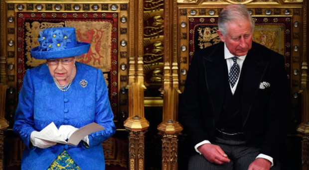 The Queen and the Prince of Wales in the House of Lords for the State Opening of Parliament yesterday