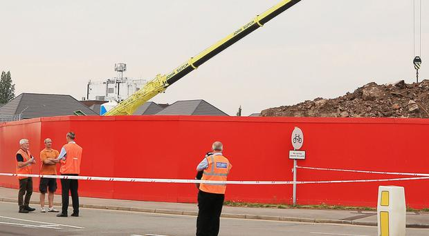 The scene of the crane accident (Peter Byrne/PA)