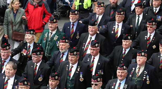 Ex-service personnel from Legion Scotland march down the Royal Mile. (Andrew Milligan/PA)