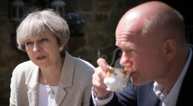 Theresa May and ex-foreign secretary William Hague during the general election campaign (Stefan Rousseau/PA)