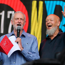 Jeremy Corbyn with Glastonbury Festival founder Michael Eavis