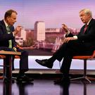 BBC presenter Andrew Marr interviews Brexit Secretary David Davis yesterday