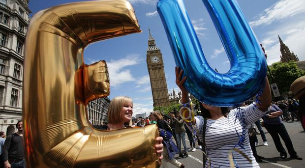 Remain supporters demonstrate in Parliament Square (Daniel Leal-Olivas/PA)