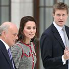 The Duchess of Cambridge with VandA trustee Nicholas Coleridge (left) and museum director Tristram Hunt at the Victoria and Albert Museum in London, to open the new VandA Exhibition Road quarter (Andrew Matthews/PA)