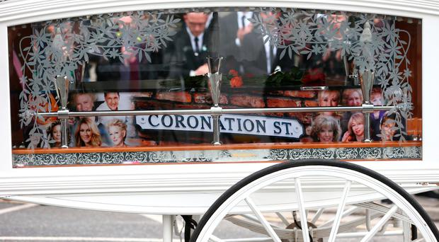 The coffin of Martyn Hett leaves Stockport Town Hall