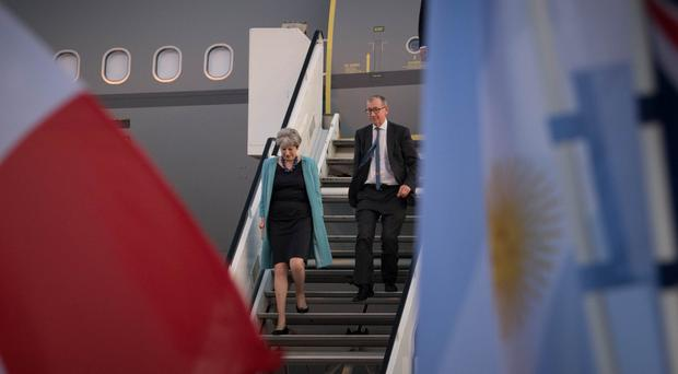 Theresa May arrives in Hamburg for the G20 summit (Stefan Rousseau/PA)