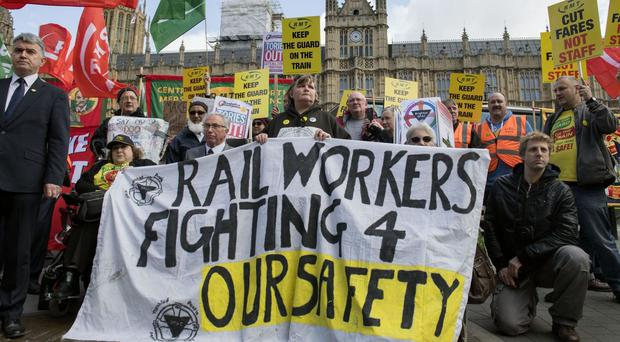 The RMT has planned strikes this weekend over staffing and driver- only trains (Victoria Jones/PA)