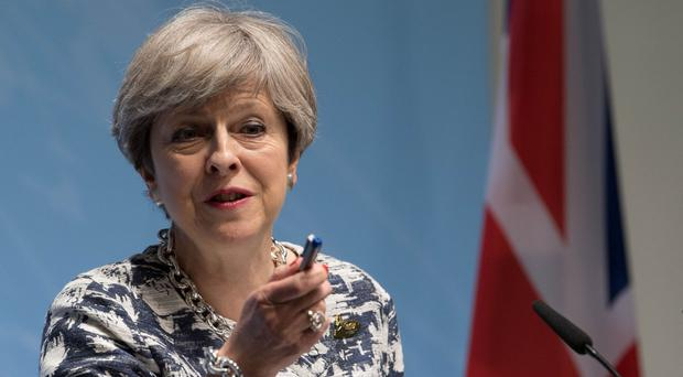 Prime Minister Theresa May during a news conference at the G20 summit in Hamburg (Stefan Rousseau/PA)