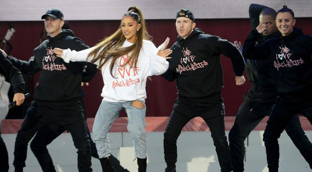 Ariana Grande performs at the One Love Manchester concert (Dave Hogan for One Love Manchester/PA)