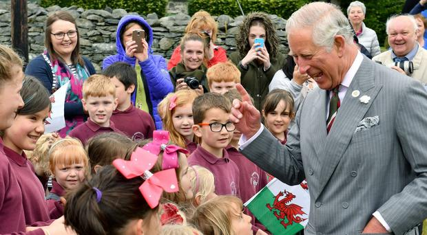 Charles meets schoolchildren in Wales (Anthony Devlin/PA)