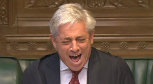 Speaker John Bercow laughs out loud after calling Anna Soubry to ask Theresa May a question, even though the Tory MP did not have one (PA)