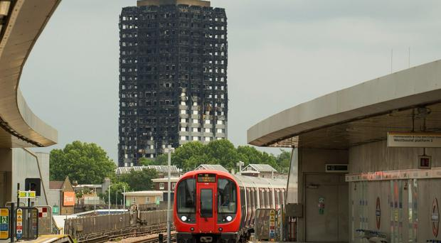 View of Grenfell Tower from Wood Lane station (Dominic Lipinski/PA)
