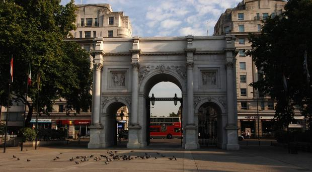 Roads around the Marble Arch landmark were closed (PA)